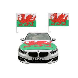Sonia Originelli Fahne Auto Fan-Paket Haubenfahne Fensterfahnen Spiegelfahnen Magnetflaggen Wales, Fanartikel für das Auto in Wales-Farben Fanset-10