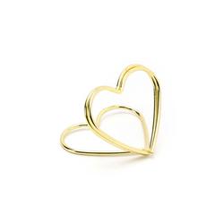 partydeco Tischkartenhalter, Tischkartenhalter Herz 2,5cm Metall gold, 10 Stück