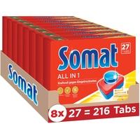 Somat 7 All in 1 Multi Aktiv, Spülmaschinentabs 8x27 Tabs, Geschirrspülreiniger