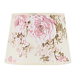 Licht-Erlebnisse Lampenschirm WILLOW Lampenschirm Rosa Weiß Blumen Motiv klein Nachttischlampe Lampe