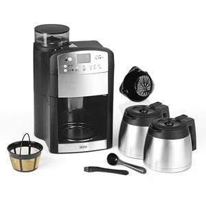 BEEM FRESH-AROMA-PERFECT Filterkaffeemaschine mit Mahlwerk - Thermo | Inkl 2 Isolierkannen | 24h-Timer | 1000 W | Warmhalteplatte