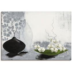 Artland Wandbild Modernes bauchiges Gefäß mit Orchideen, Vasen & Töpfe (1 Stück) 70 cm x 50 cm