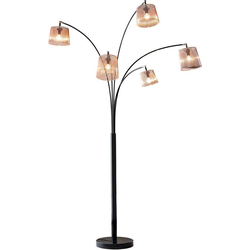 SalesFever Stehlampe Karlis, 5 bewegliche Arme, Dimmschalter, echter Marmorfuß