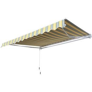 Outsunny Markise Gelenkarmmarkise Sonnenschutz mit Handkurbel 3,5x2,5m Gelb+Grau Alu+Polyester