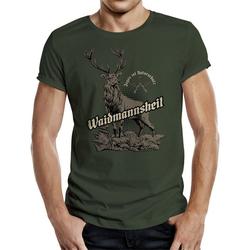 Rahmenlos T-Shirt mit tollem Frontprint Waidmannsheil grün M