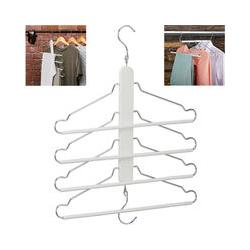 Raumsparbügel mehrfach, 4 Kleiderbügel mit Hosensteg, Holz, Metall, Mehrfachkleiderbügel
