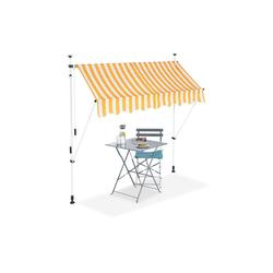 relaxdays Klemmmarkise Klemmmarkise gelb weiß 200 cm x 120 cm x 300 cm