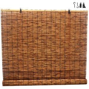 Bambusrollo Raffrollo Reed Vorhänge Bambus Rollo Vorhänge,Retro Dekoration Roman Jalousien,Türvorhang Bambusvorhang mit Lifter,Sonnenschutz Rollläden Lichtfilterung,Wärmedämmung (50x60cm/20x24in)
