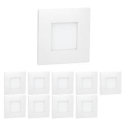 LED Treppen-Licht FEX Stufenbeleuchtung, weiß, eckig, 8,5x8,5cm, 230V, rot, 10 Stk.