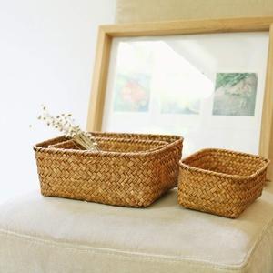 Livecitys Handgemachte Stroh Getrockneten Korb, Blume Obst Topf Rattan Box Candy Kopfhörer Organizer Für Wohnzimmer Dekor Schwarz Mitte