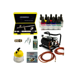 Airbrush-City Druckluftwerkzeug Custom-Painting Airbrush Set - Evolution Silverline Two in One + Sparmax AC-500 Kompressor - Kit 9302, (1-St)
