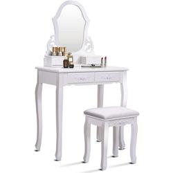 COSTWAY Schminktisch Frisierkommode Schminkkommode Kosmetiktisch weiß 40 cm x 135 cm x 75 cm
