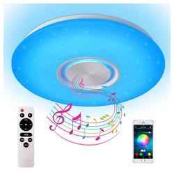 Natsen Deckenleuchte, Bluetooth Deckenlampe Lautsprecher RGB dimmbar mit APP/Fernbedienung (24W Weiß RGB Fernbedienung+APP) Ø 40 cm x 5.5 cm