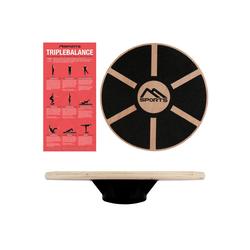 MSports® Stabilisations-Therapiegerät Balance Board aus Holz 39 cm Durchmesser Wackelbrett Therapiekreisel Physiotherapie