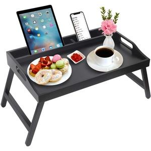 Frühstückstablett mit Griffen, zusammenklappbare Beine, Bambus-Betttablett mit Medien-Schlitz, faltbares Tablett, Laptop-Schreibtisch, Snacks, TV-Bett Tablett Küche Servierplatten Tablett (schwarz)