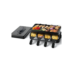 muchen Raclette Raclette Grill für 8 Personen, mit Deckel, edelstahl matt, BBQ Party Tischgrill, mit 8 Schiebern, 8 Raclettepfännchen, 1200 W