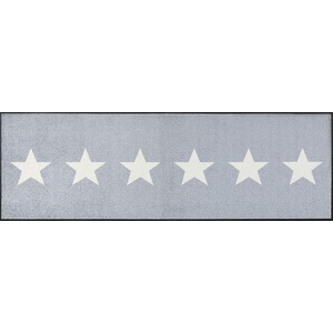 wash+dry Fußmatte, Stars grey 60x180 cm, innen und außen, waschbar