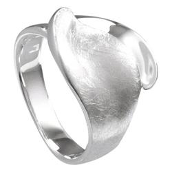 Vinani Silberring, Vinani Ring Blatt gebürstet glänzend Sterling Silber 925 RBT 56 (17.8)