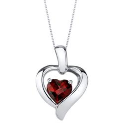 Granat in Herzform im silbernen Herz Lasalle