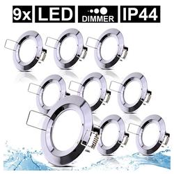 etc-shop LED Einbaustrahler, 9er Set LED Einbau Decken Leuchten Bade Zimmer ALU Spot Strahler Lampen DIMMBAR