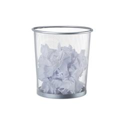 relaxdays Papierkorb Papierkorb rund Drahtgeflecht silberfarben