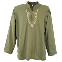 Guru-Shop Hemd & Shirt Yoga Hemd bestickt, Goa Shirt, besticktes.. M