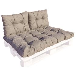 GMD Living Sitzkissen PREMIUM PALETTE, Set: 1 Sitzkissen + 2 Rückenkissen, taupe, 12 cm Polsterhöhe braun Set: 1 Sitzkissen + 2 Rückenkissen, taupe - 80 cm x 120 cm