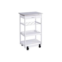 HTI-Living Küchenwagen Küchenrollwagen weiß Holz/Edelstahl