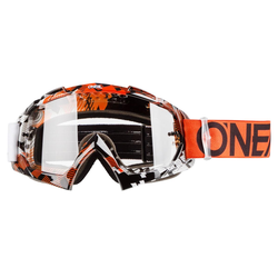 O'Neal Crossbrille B-10 Pixel Orange/Weiß - Klar Anti-Fog