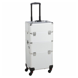 Yaheetech Kosmetikkoffer, Alu Kosmetik Trolley 3 in 1 Schminkkoffer Leer Friseurkoffer Nail Art Koffer mit 4 Stück 360° Rollen silberfarben
