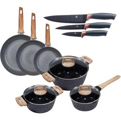 KING Topf-Set Essential (Set, 12-tlg., 3 Töpfe, Deckel, Pfannen, Küchenmesser) schwarz Topfsets Töpfe Haushaltswaren Topf