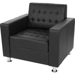 Sessel Pori, Clubsessel Loungesessel, Kunstleder, Metall-Füße ~ schwarz