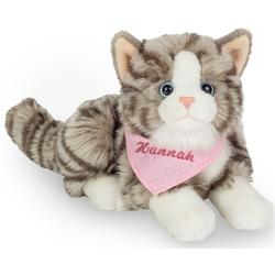 Teddy Hermann® Kuscheltier Katze grau mit rosa Halstuch, 20 cm, mit individueller Bestickung