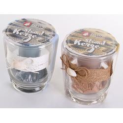 Levandeo® Formkerze, levandeo 2er Set Kerzen Glas Kerzengläser Maritim Strand Beach Kerzenständer