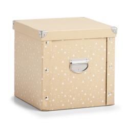 Zeller Weihnachtskugelbox, Aufbewahrungsbox für Weihnachtskugeln aus Pappe, Maße: ca. 30 x 30 x 29 cm natur/gold