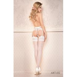 Ballerina Strapsstrümpfe Strümpfe weiß 20 DEN FaS432 S/M - (36/38)