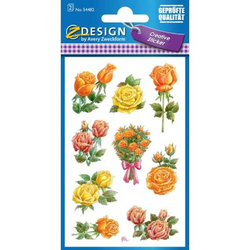 Flower Sticker Rose Papier 9 Motive bunt 2 Blatt