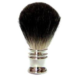 Golddachs Rasierpinsel Metall Silber Stockhaar