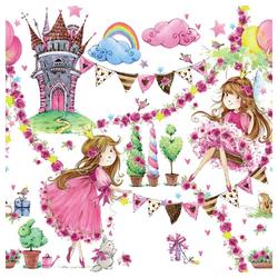 Linoows Papierserviette 20 Servietten, Märchen Prinzessin vor buntem Traum, Motiv Märchen Prinzessin vor buntem Traum Schloss