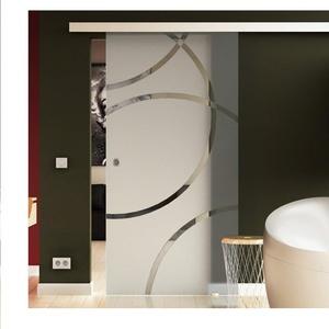Glasschiebetür 205x77,5 cm Dessin: Kreis Sandstrahlung - Door (D) Levidor® EasySlide-System komplett Laufschiene und Muschelgriffe Schiebetür aus Glas für Innenbereich  ESG-Sicherheitsglas