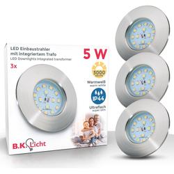 B.K.Licht LED Einbauleuchte Elias, LED Einbaustrahler ultra-flach Badezimmer IP44 Decken-Spot GU10 3er SET
