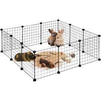 Relaxdays Freilaufgehege, DIY Freigehege für Kleintiere, Erweiterbarer Hasenauslauf, HBT ca. 37 x 110 x 110cm, schwarz