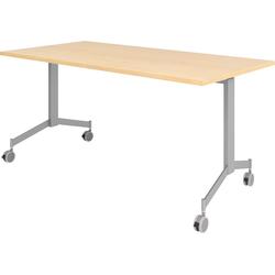 bümö Klapptisch OM-KF16, Konferenztisch fahrbar & klappbar Staffeltisch - Dekor: Ahorn beige