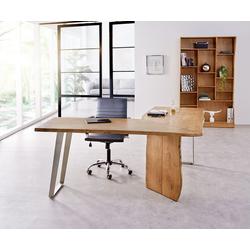DELIFE Schreibtisch Live-Edge, Akazie Natur 170x170 Gestell Silber Baumkante Schreibtisch natur