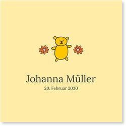 Geburtskarten (10 Karten) selbst gestalten, Kleiner Teddy - Gelb