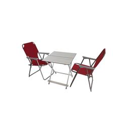 Wohaga Gartenmöbelset 3tlg Campinggarnitur 50,5x47,5cm Silber, Rot, (3-tlg) rot
