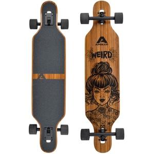 Apollo Longboard, Komplettboard mit Deck aus Bambus & Fiberglas, High-End Board mit ABEC 9 Kugellager, Flex 2 Longboards für Jugendliche und Erwachsene, Profi-Cruiser