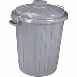 CURVER Charlie-Tonne Mülltonne, Mülltonne aus Kunststoff, Farbe: grau