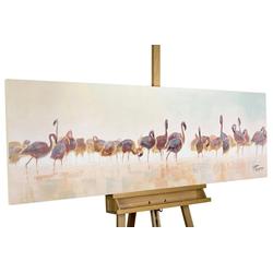 KUNSTLOFT Gemälde Bad der Flamingos, handgemaltes Bild auf Leinwand