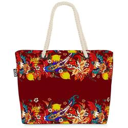 VOID Strandtasche (1-tlg), Tropen Bordüre Beach Bag Blumen-Muster Früchte Obst floral Orient Orientalisch